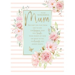 Wonderful Mum 6 Verse Booklet insert Luxury Birthday Greeting Card