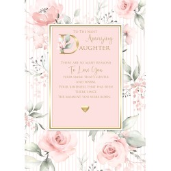 Amazing Daughter 6 Verse Booklet insert Luxury Birthday Greeting Card