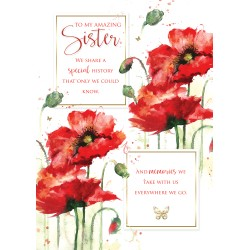 Sister 6 Verse Booklet insert Luxury Birthday Greeting Card