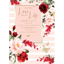 Love of my Life 6 Verse Booklet insert Luxury Birthday Greeting Card