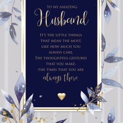 Amazing Husband 6 Verse Booklet insert Luxury Birthday Greeting Card