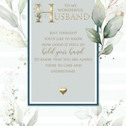 Wonderful Husband 6 Verse Booklet insert Luxury Birthday Greeting Card