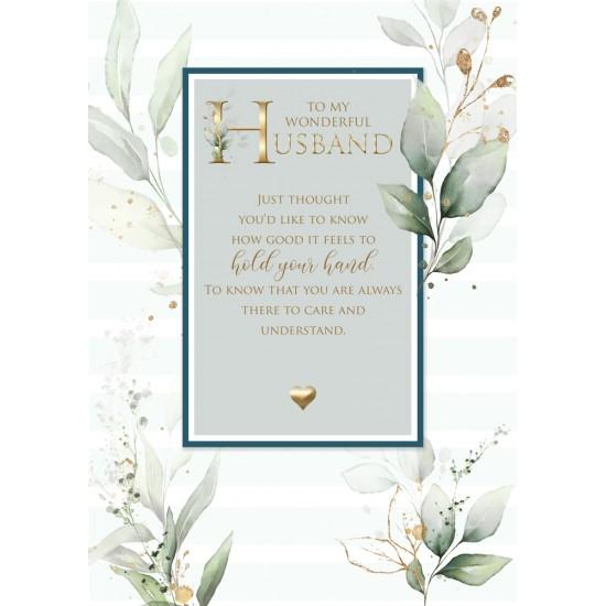 Wonderful Husband 6 Verse Booklet insert Luxury Birthday Greeting Card