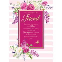 Wonderful Friend 6 Verse Booklet insert Luxury Birthday Greeting Card