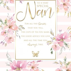 Special Nan 6 Verse Booklet insert Luxury Birthday Greeting Card
