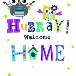 Hurray Welcome Home Foil Finish Owl Greeting Card By Cherry Orchard
