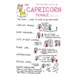 CAPRICORN the Goat ♑ Dec 22 -Jan 19 FEMALE Astrological Zodiac Sign Greeting Card by Cherry Orchard
