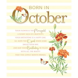 Born In October Month Flower Marigold Female Happy Birthday Card with Lovely Verse