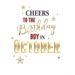 Cheers to the Birthday Boy Born in October Male Happy Birthday Greeting Card
