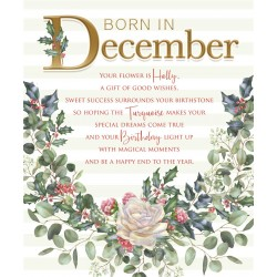 Born In December Month Flower Holly Female Happy Birthday Card with Lovely Verse