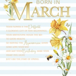 Born In March Female Daffodil & Word Design Happy Birthday Card Lovely Verse