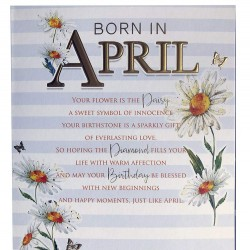 Born In April Female Daisy & Word Design Happy Birthday Card Lovely Verse