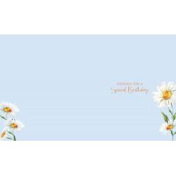 Born In April Female Daisy & Word Design Happy Birthday Card Lovely Verse