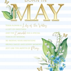 Born In May Female Lily & Word Design Happy Birthday Card Lovely Verse