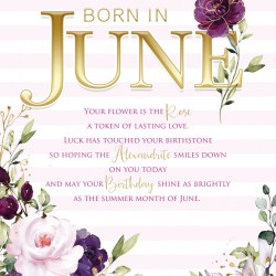 Born In June Female Rose & Word Design Happy Birthday Card Lovely Verse