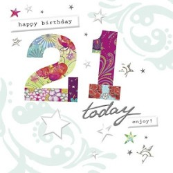 Happy Birthday 21 Today Foiled Finished 21st Birthday Card