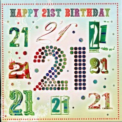 Happy 21st Glittered Unisex Birthday Card