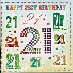 Happy 21st Glittered Unisex Birthday Card