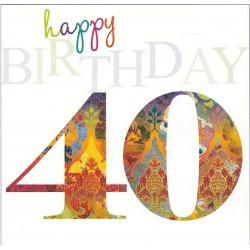 Happy 40th Glittered Colouful Birthday Card