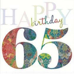 Happy 65th Glittered Birthday Card