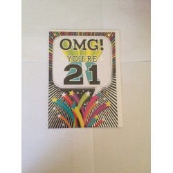 OMG! You're 21 Happy 21st Birthday Card
