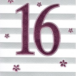 Sweet Sixteen 16th Birthday Foiled Greeting Card