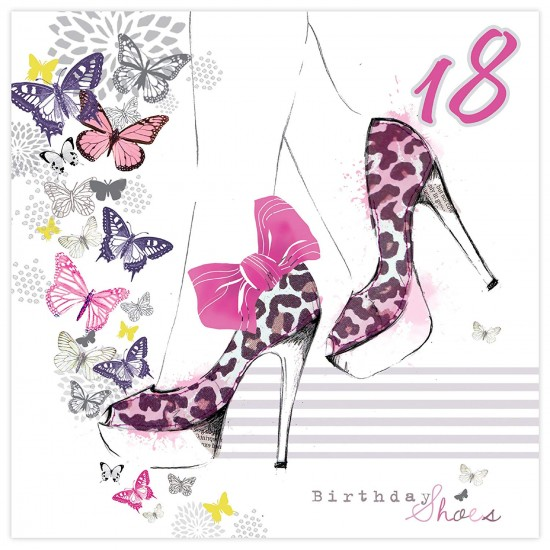 18th Birthday Shoes Glittered Birthday Card with Envelope