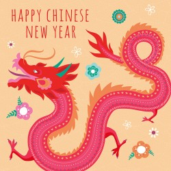 Happy Chinese New Year Red Dragon Luxury Card with Glitter Finish