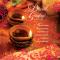 Diwali Greeting Card Illuminated Diya Lamps with Foil Finish - Hindu Festival