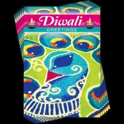 Happy Diwali Peacock Rangoli Art Greeting Cards (6 Card Multipack - 1 Design)