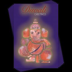 Happy Diwali Ganesh Art Greeting Cards (6 Card Multipack - 1 Design)