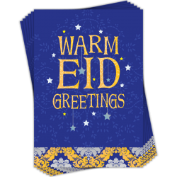 Eid Stars Damask Warm Eid Greetings Cards Pack of 6