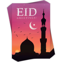 Eid Greetings! Green Silhouette Mosque Dawn/Sunset Greeting Cards Pack of 6