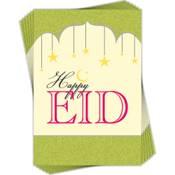 Happy Eid Greeting Cards Multi Pack of 6 Islamic Arches