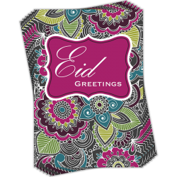 Eid Greetings Henna Flowers Greeting Cards by Davora in Multi Pack of 6