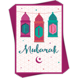 Eid Mubarak Lanterns Greeting Cards Pack of 6