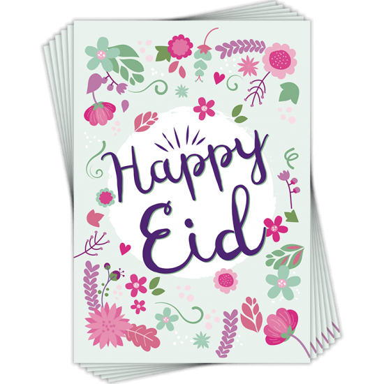 Eid Floral Happy Eid Greeting Cards Pack of 6