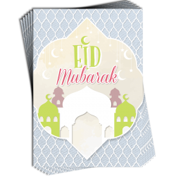 Eid Mubarak Geometric Tile Pattern Mosque Greeting Cards Pack of 6