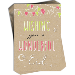 Eid Buntings Wishing you a WONDERFUL Eid Greeting Cards Pack of 6