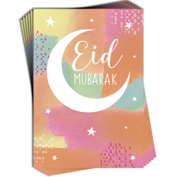 Eid Mubarak Crescent Moon Pastel Colours Muti Pack of 6 Greeting Cards with Glitter Finish