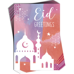 Eid Greetings Mosque Pastel Colours Muti Pack of 6 Cards with Glitter Finish