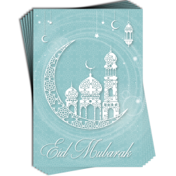 Eid Mubarak Pastel Blue Mosque Crescent Moon and Stars Greeting Cards Multi Pack of 6
