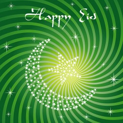 Happy Eid Green Swirls Crescent Moon and Star Glitter finish Greeting Card