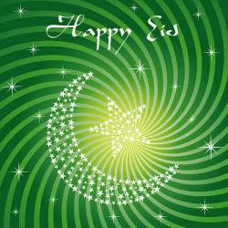Happy Eid Green Swirls Crescent Moon and Star Glitter finish Greeting Card