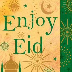 Enjoy Eid Greeting Card with Glitter finish