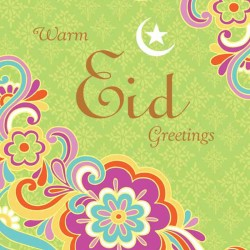 Warm Eid Greetings Card Retro Flowers with Foil and Glitter Finish