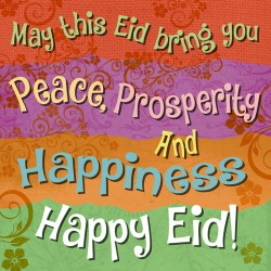 Happy Eid Greeting Card Peace, Prosperity, Happiness with Glitter Finish