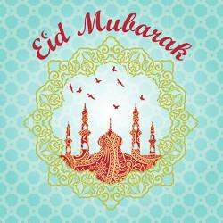 Eid Mubarak Greeting Card Mosque and Birds Glitter Finish