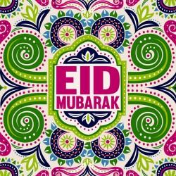 EID Mubarak Bold Pattern Glitter finish Greeting Card