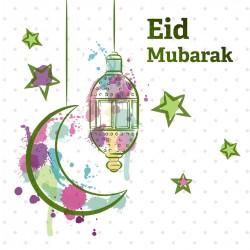 Eid Mubarak Crescent Moon Star and Lantern Glitter finish Greeting Card